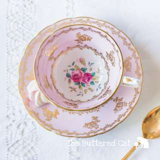 Lovely vintage pink English bone china cabinet teacup and saucer