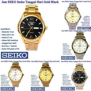 jam tangan Stainless SEKO Sarko Tanggal Hari