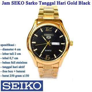 jam tangan Stainless SEKO Sarko Tanggal Hari Gold Black