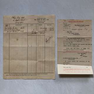 Vintage Old Document - Old Bank Statement and Letter of Acknowledge dated Year 1955 issued by Bank of India , Singapore (set of 2 documents)