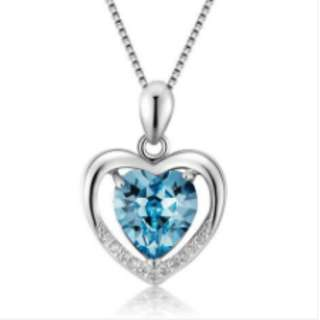 S925 Silver Heart-Shaped Blue Crystal Necklace