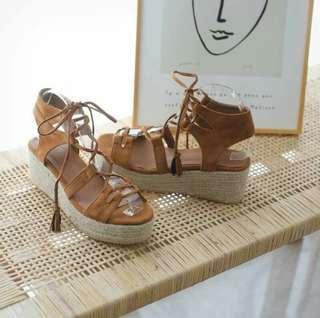 《❤️超美~正韓羅馬綁帶楔形草編涼鞋》