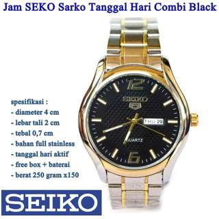 jam tangan Stainless SEKO Sarko Tanggal Hari Combi Black