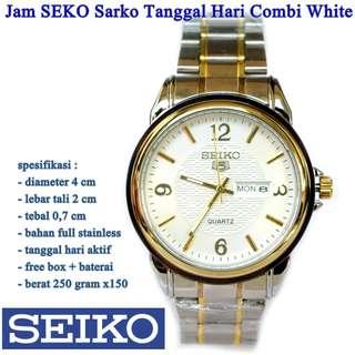 jam tangan Stainless SEKO Sarko Tanggal Hari Combi White