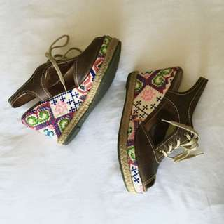 Anthropologie Schuler&Sons Embroidered Wedges with Brown Leather Upper