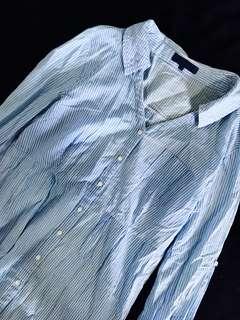 Light blue stripes polo dress