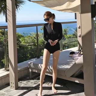Black Long-sleeves Swimsuit