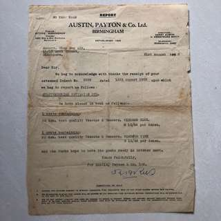 Vintage Old Document - Old receipt related to Teacups & Saucers Dated 31st Aug 1955