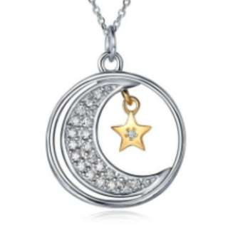 S925 Silver Moon Star Necklace