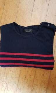 Zara red striped long sleeves