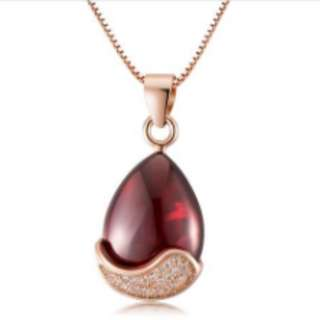 S925 Silver Rose Gold & Red Pomegranate Necklace