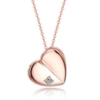 S925 Silver Rose Gold Heart Pendant Necklace