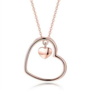 S925 Silver Simple Rose Gold Heart Necklace