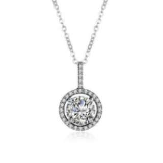 S925 Silver Stone Round Necklace