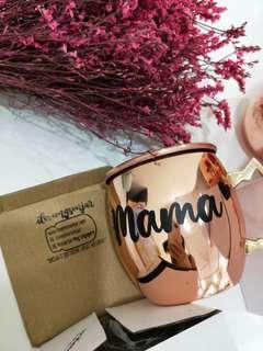 Name personalised rose gold copper mug
