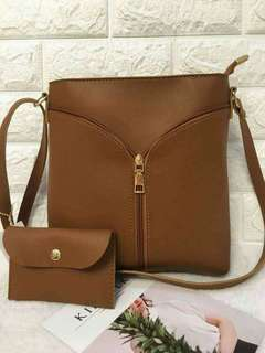 Sling with wallet 9x10inces leather