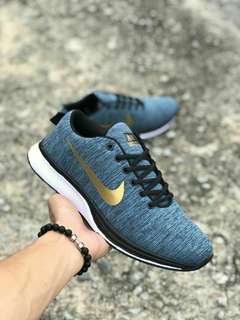Nike Flyknit Racer Blue Gold Price : RM75 SM / RM80 SS Size : 36 - 45