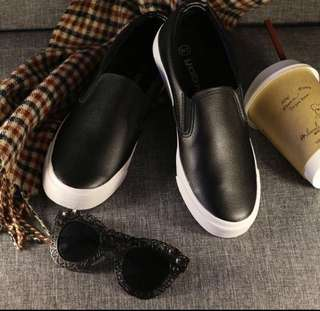 Slip on leather sneakers / White sneakers / Black sneakers / rubber shoes