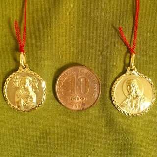 Perpetual help and sacred heart italian gold pendant
