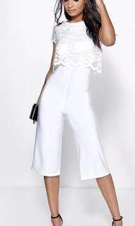 White Overlay Jumpsuit