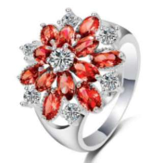 Full Diamond Filed Red Flowers Floral Ring