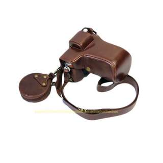 Olympus Camera Casing Coffee Luxury PU Leather Camera Case for EPL 7, 8, 9 40-150mm with Strap