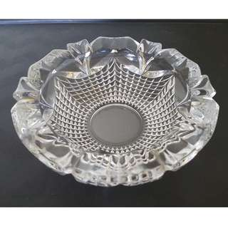 Vintage heavy cut glass ash tray small