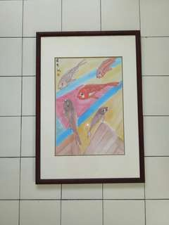70s Painting With Teak Wood Frame Size 73x51cm