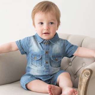 ✔️STOCK - PREMIUM VINTAGE JEANS BUTTON NEWBORN BABY TODDLER BOY/GIRL CASUAL ROMPER KIDS CHILDREN CLOTHING