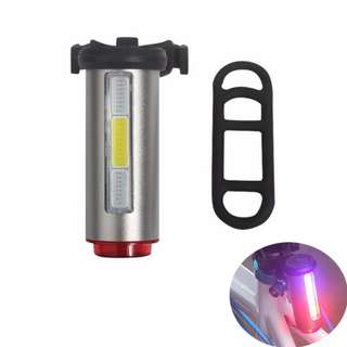 Bike Light Tri Color Aluminum COB USB Rechargeable Bicycle Taillight