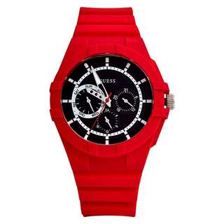 GUESS Unisex Red and Black W0942L4 Watch 42mm