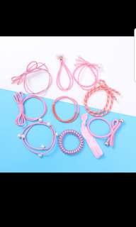 Pink Hair Tie 10pcs Set