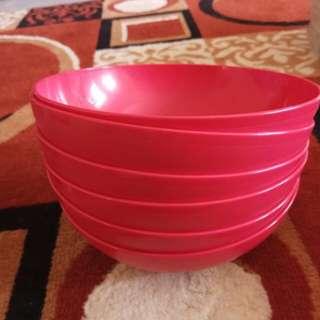 6 pcs red bowl tupperware