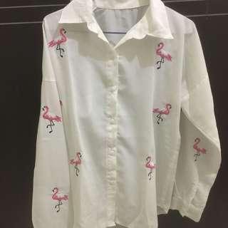 Kemeja Flamingo putih
