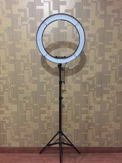 "Black Bi Color Ring Light with Dimmer 18"" + Stand"