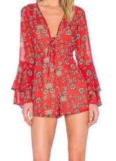 For Love and Lemons Red Pia Romper