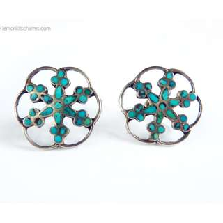 Vintage Sterling Silver Turquoise Earrings, Native American, Screw-Back Clips, er1633-c