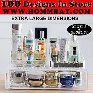 Clear Acrylic Transparent Make Up Makeup Cosmetic Jewellery Jewelry Organiser Organizer Drawer Storage Box Holder (XLOTL3 + XLOBL 34)