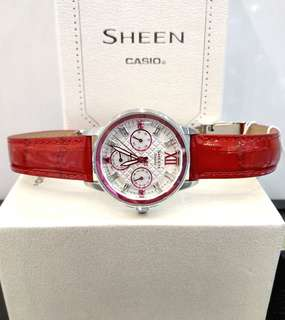 Brand New 100% Authentic Casio Sheen Ladies Casual Watch White Dial & Red Index on Red Leather Strap SHE-3029L-7A2