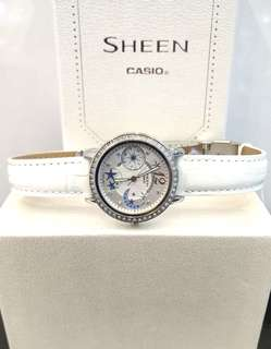 Brand New 100% Authentic Casio Sheen Star Moon White Dial Ladies Casual Watch on White Leather Strap SHE-3019L-7ADR