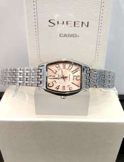 Brand New 100% Authentic Casio Sheen Peach Colour Dial Ladies Watch on Metal Bracelet SHE-4027D-4ADR