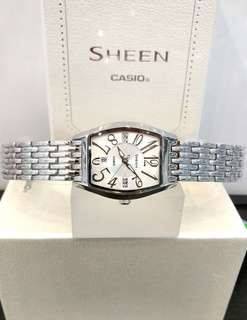 Brand New 100% Authentic Casio Sheen White Dial Ladies Watch on Metal Bracelet SHE-4027D-7ADR