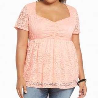 🎠 FLASH DEAL - Plus Size Torrid 0X Floral Lace Sweetheart Peplum OL Ruffle Peach Top