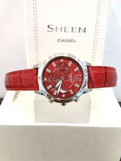 Brand New 100% Authentic Casio Sheen Red Dial & Red Leather Strap Ladies Casual Watch with Swarovski Elements SHE-5017L-4ADR