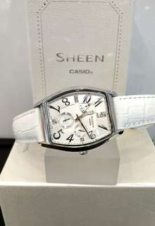 Brand New 100% Authentic Casio Sheen White Dial & White Leather Strap Ladies Casual Watch SHE-3026L-7A1