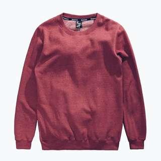 🚚 Shtick酒紅內刷毛麻紅暗紅藕紫色大學t毛衣內刷毛素t長袖上衣大學踢