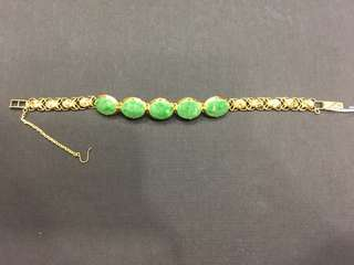 20k Yellow Gold Jade Bracelet
