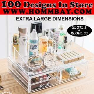 Clear Acrylic Transparent Make Up Makeup Cosmetic Jewellery Jewelry Organiser Organizer Drawer Storage Box Holder (XLOTL3 + XLOBL 38)