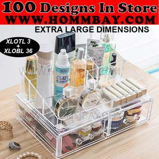 Clear Acrylic Transparent Make Up Makeup Cosmetic Jewellery Jewelry Organiser Organizer Drawer Storage Box Holder (XLOTL3 + XLOBL 36)