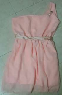 1 pc peach one-shoulder dress